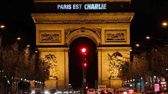 "The message ""Paris is Charlie"" is projected on the Arc de Triomphe in Paris"